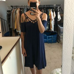 Navy Blur Dress with Cutouts